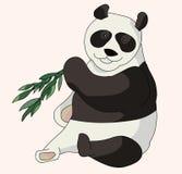 Pandabär, der einen Bambus isst stock abbildung