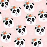 Pandabär mit nahtlosem Vektormuster der Blumen lizenzfreie abbildung