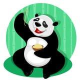 Pandabär mit Nudeln lizenzfreie abbildung
