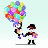 Pandabär mit zwei Karikaturen mit Geburtstagsballonen und -geschenken Enthält transparente Nachrichten Lizenzfreies Stockfoto