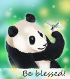 Pandabärn- und -libellensegen Stockbilder