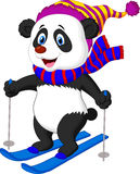 Pandabeeldverhaal het ski?en Stock Foto's