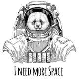 Pandabjörn, för Spaceman Galaxy för astronaut för löst djur för dräkt för utrymme för bambubjörn bärande dragen illustration utfo Royaltyfri Fotografi