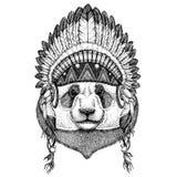 Pandabjörn, löst djur för bambubjörn som bär den indiska hatthuvudbonaden med stam- illustraton fjäderBoho för etnisk bild stock illustrationer