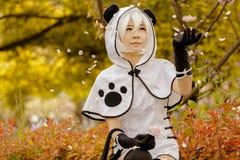 Pandaflickasammanträde under ett träd Arkivfoton