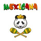 Pandaframsida med sombreron och maracas mexico Mexicana också vektor för coreldrawillustration stock illustrationer