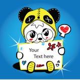 Pandainfallshow etiketten. Royaltyfria Bilder