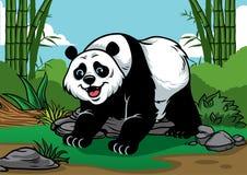 Pandakarikatur im Bambuswald Stockfotos