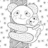 Pandakindermalbuchseite Stockfotografie