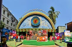 Pandal, temporary temple dedicated to Hindu godess Stock Photo