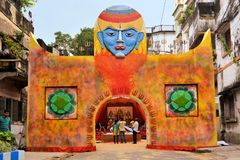 Pandal, temporary temple dedicated to Hindu godess Stock Image