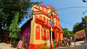 Pandal, temporary temple dedicated to Hindu godess Stock Images