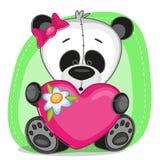 Pandameisje met hart stock illustratie
