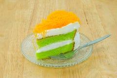 pandan蛋糕片断与foi皮带的 免版税库存图片