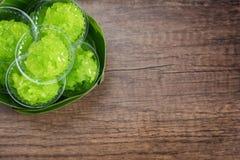 Pandan a assaisonné la recette gélatineuse translucide douce de riz Photos stock