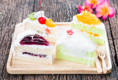 Pandan cake and egg threads, fruits cake, coconut cake, Blueberr Royalty Free Stock Photos