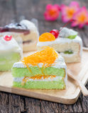 Pandan cake and egg threads on top Stock Photos