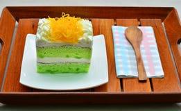 Pandan cake, fios de ovos topdressing Royalty Free Stock Images