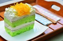 Pandan cake, fios de ovos topdressing Stock Photo