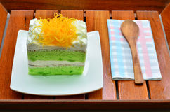 Pandan cake, fios de ovos topdressing Royalty Free Stock Image