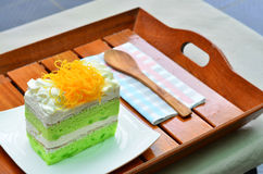 Pandan cake, fios de ovos topdressing Stock Photo