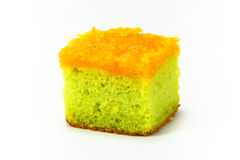 Pandan cake with foi thong Royalty Free Stock Images