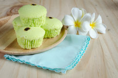 Pandan cake on wood table Stock Images