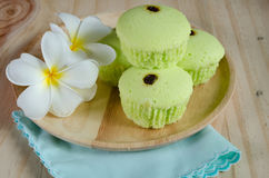 Pandan cake on wood table Royalty Free Stock Photography