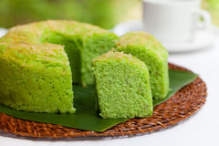 Pandan chiffon cake Traditional Indonesian desert Stone background. Top view Stock Images