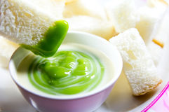 Pandan custard with bread Stock Images