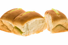 Pandan custard filling bread Stock Photos
