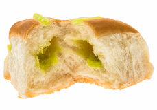 Pandan custard filling bread Royalty Free Stock Photo