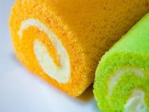 Pandan i Pomarańczowy smak rolki tort zdjęcie royalty free