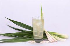 Pandan juice with lemongrass  white backdrop Stock Photo