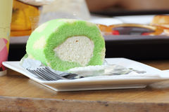 Pandan leave flavour Roll Cake Stock Images