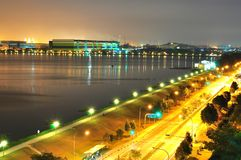 Pandan Reservoir by the roadside by night Stock Image