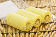 Pandan roll cake Stock Photography