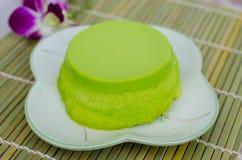 Pandan Vanillepudding-Kuchen lizenzfreies stockfoto