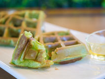 Pandan waffle, backgound concept. Royalty Free Stock Images