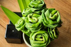 Pandanus leaf bending a bouquet Stock Photo