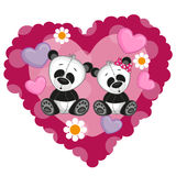 pandas δύο Στοκ εικόνα με δικαίωμα ελεύθερης χρήσης