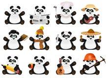 Pandas agradáveis dos desenhos animados ajustadas Fotografia de Stock