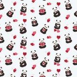 Pandas, amour, coeurs illustration libre de droits