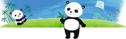 Pandas auf dem Gras. Stockfotografie
