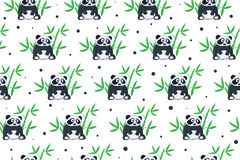 Pandas background. Seamless background with cartoon panda illustration. Panda and bamboo pattern Royalty Free Stock Images