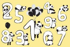 Panda bears cute animals numbers with cartoon baby illustrations royalty free stock image