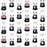 Pandas cartoon pattern. Happy, sad, sick, love, reading pandas on a background. Cartoon pandas with different expressions stylized drawing hands Stock Images
