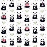 Pandas cartoon pattern. Stock Images