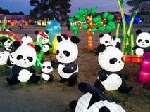 Pandas con el árbol y el arco iris en el festival de linterna chino Fotos de archivo