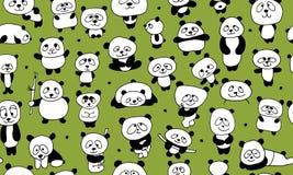 Pandas divertidas, modelo inconsútil para su diseño Imágenes de archivo libres de regalías